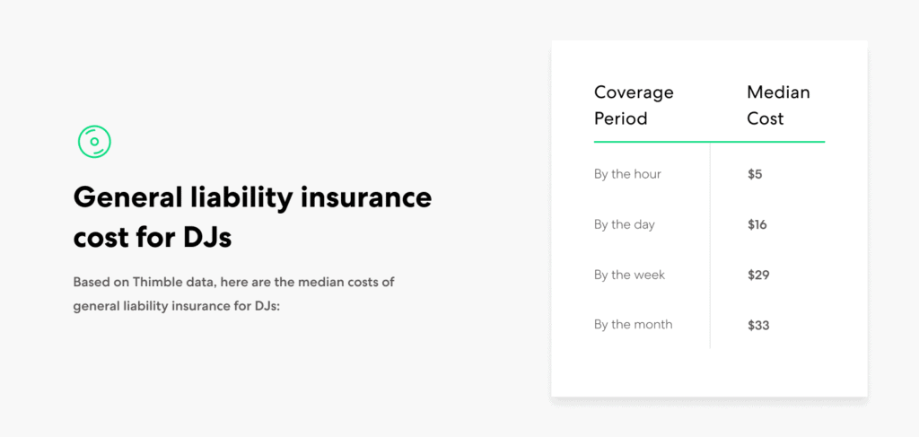 DJ GL insurance cost ranges