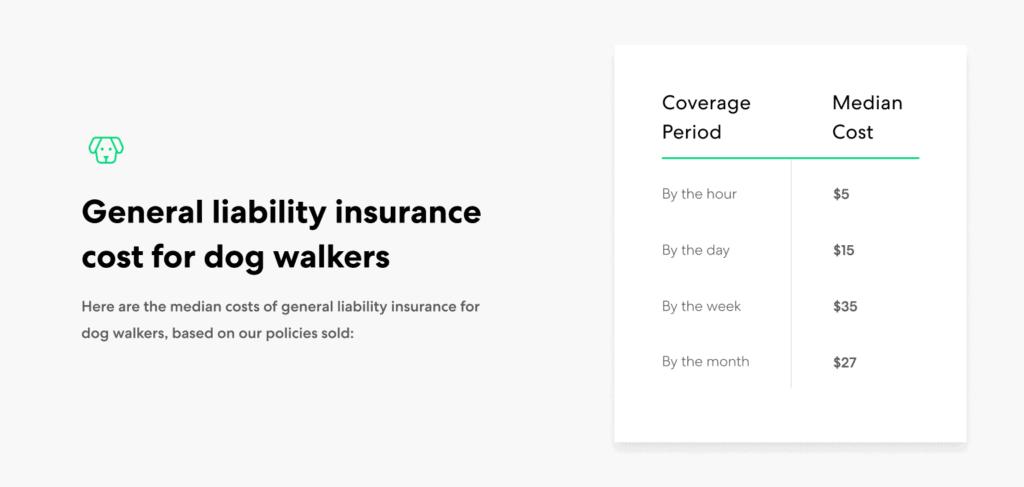 Dog Walker general liability cost range