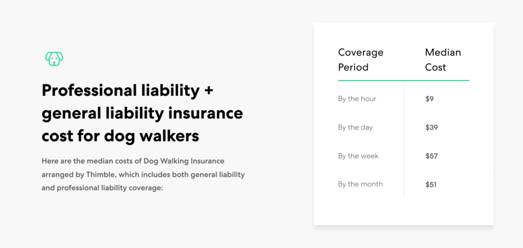 Dog Walker general and professional liability insurance cost