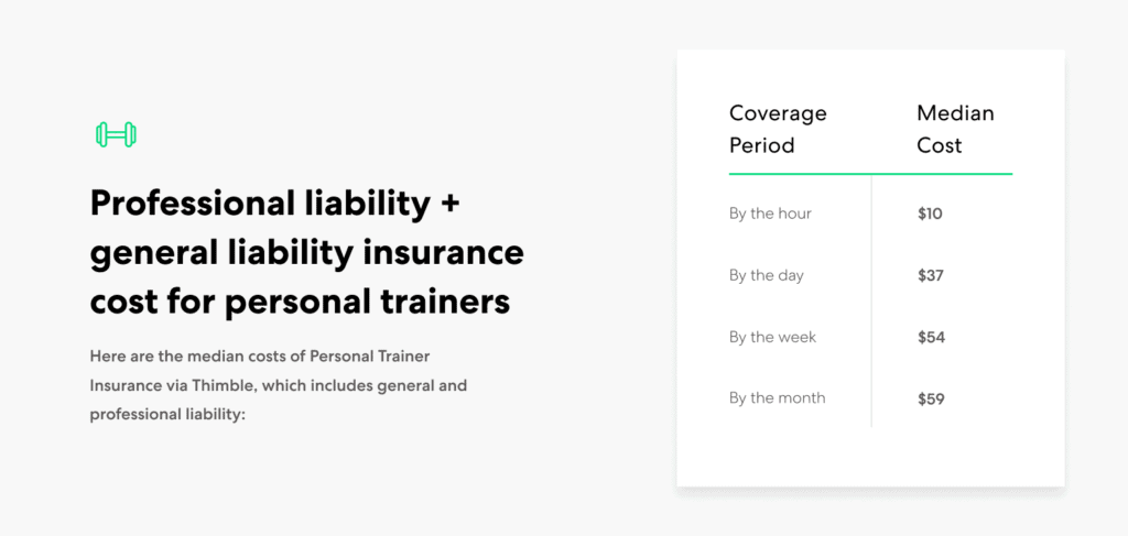 Personal Trainer general and professional liability insurance cost range