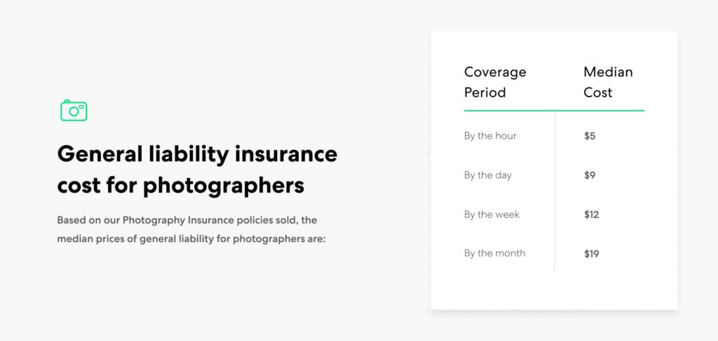 Photographer-GL insurance cost ranges